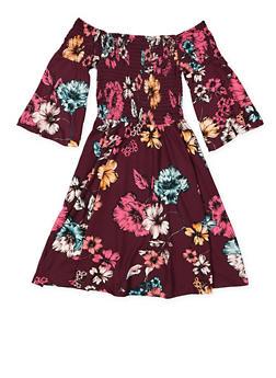Girls 7-16 Smocked Off the Shoulder Floral Dress - 3615060580030