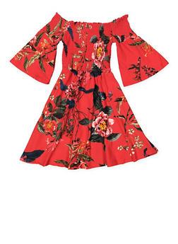 Girls 7-16 Smocked Floral Dress - 3615060580031