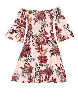 Girls 7-16 Smocked Off the Shoulder Floral Dress - 3615060580033