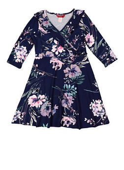 Girls 7-16 Floral Faux Wrap Dress - 3615060580035