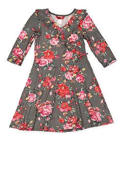 Girls 7-16 Striped Floral Faux Wrap Dress - 3615060580036
