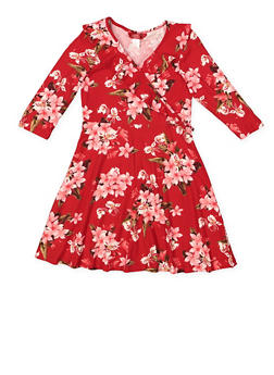 Girls 7-16 Floral Faux Wrap Dress - 3615060580037