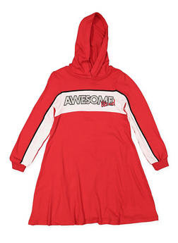 Girls 7-16 Awesome Graphic Hooded Dress - 3615060580043