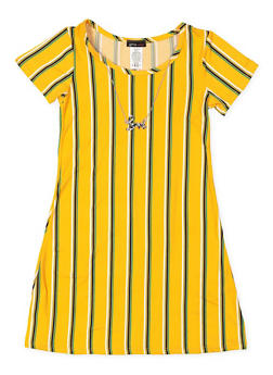 Girls 7-16 Striped T Shirt Dress with Necklace - 3615061950020