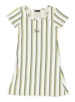 Girls 7-16 Striped T Shirt Dress with Necklace - 3615061950021