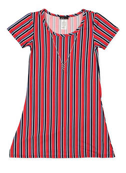 Girls 7-16 Striped T Shirt Dress with Necklace - 3615061950022
