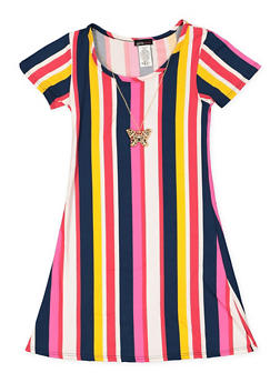 Girls 7-16 Striped T Shirt Dress with Necklace - 3615061950023
