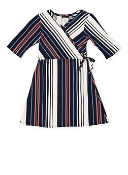 Girls 7-16 Striped Faux Wrap Dress - 3615061950030