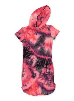 Girls 7-16 Tie Dye Hooded T Shirt Dress - 3615066590050