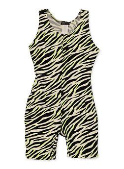 Girls 7-16 Zebra Print Soft Knit Romper - 3615066590060