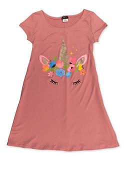 Girls 7-16 Glitter Unicorn Shift Dress - 3615075540003