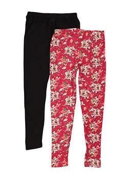Girls 7-16 Pair of Printed and Solid Leggings - 3619054730010