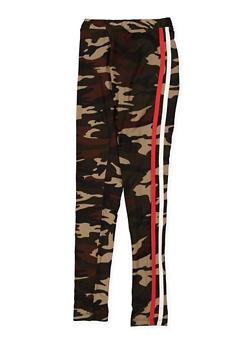 Girls 7-16 Camo Varsity Stripe Leggings - 3619060580030