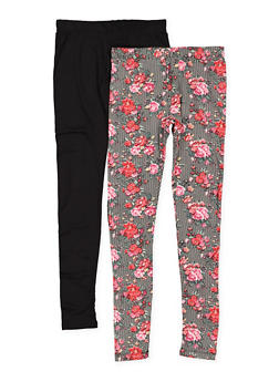 Girls 7-16 Set of 2 Printed and Solid Leggings - 3619060580037
