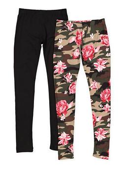 Girls 7-16 Set of 2 Soft Knit Leggings - 3619060580038