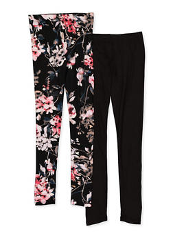 Girls 7-16 Floral and Solid Leggings - 3619060580046