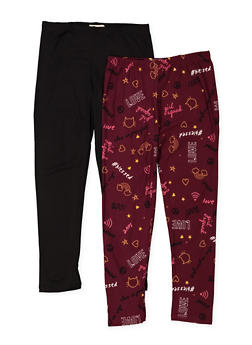Girls 7-16 Set of 2 Printed and Solid Leggings - 3619061950048