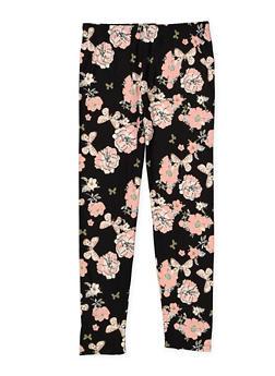 Girls 7-16 Soft Knit Floral Leggings - 3619061950049