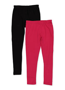 Girls 7-16 Two Pack Solid Leggings - 3619063370001