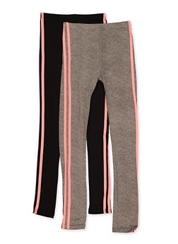 Girls 7-16 2 Pack Varsity Stripe Leggings - 3619074410006