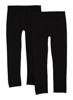 Girls 7-16 Textured Fleece Lined Leggings | Black - 3619074410014