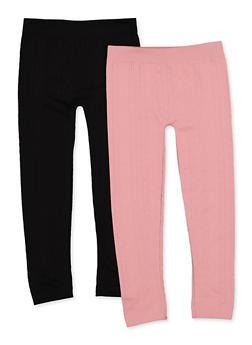 Girls 7-16 Two Pack Fleece Lined Textured Leggings - 3619074410015
