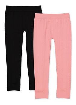 Girls 7-16 Textured Fleece Lined Leggings Two Pack - 3619074410016