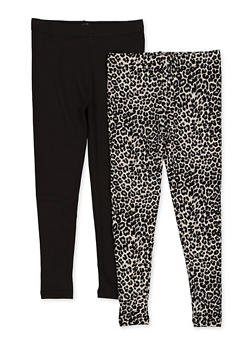 Girls 7-16 Pack of 2 Leopard and Solid Leggings - 3619074410020