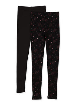 Girls 7-16 Unicorn Print and Solid Fleece Lined Leggings - 3619074410041