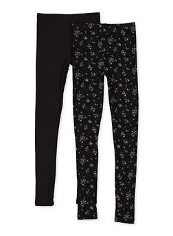 Girls 7-16 Pack of 2 Solid and Printed Leggings - 3619074410042