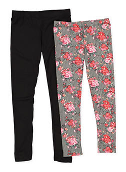 Girls 4-6x 2 Pack of Solid and Printed Leggings - 3620060580025