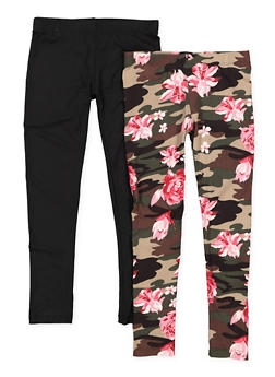 Girls 4-6x 2 Pack of Solid and Floral Camo Leggings - 3620060580026