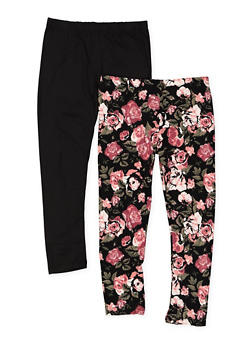 Girls 4-6x Set of 2 Floral and Solid Leggings - 3620061950030