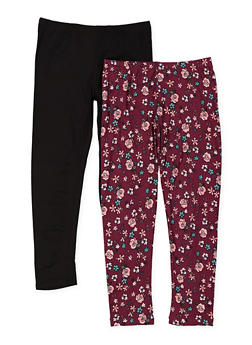 Girls 4-6x Set of 2 Floral and Solid Leggings - 3620061950031