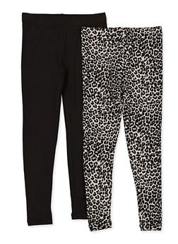 Girls 4-6x Solid and Leopard Print Leggings Set - 3620074410010