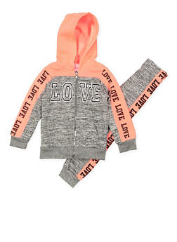 Girls 4-6x Love Graphic Sweatshirt and Sweatpants Set - 3622038340002