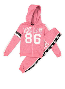 Girls 4-6x Graphic Zip Up Sweatshirt and Sweatpants - 3622038340015