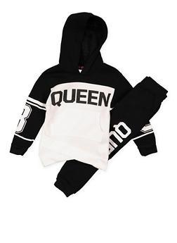 Girls 4-6x Queen Graphic Sweatshirt and Joggers - 3622038340017