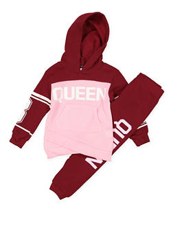 Girls 4-6x Queen Graphic Sweatshirt and Joggers - 3622038340017