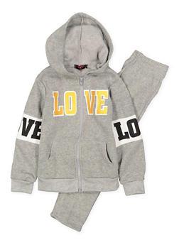 Girls 4-6x Love Graphic Sweatshirt and Sweatpants Set - 3622038340020