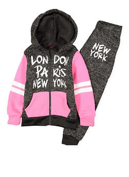 Girls 4-6x Graphic Sweatshirt and Sweatpants Set - 3622038340022