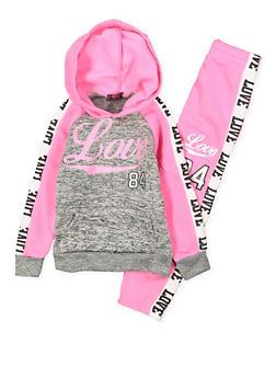 Girls 4-6x Love Graphic Sweatshirt and Sweatpants - 3622038340023