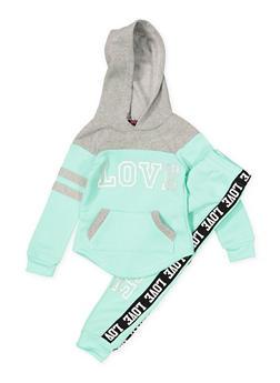 Girls 4-6x Love Color Block Sweatshirt and Joggers - 3622038340030