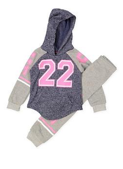 Girls 4-6x Love Color Block Sweatshirt with Sweatpants - 3622038340031