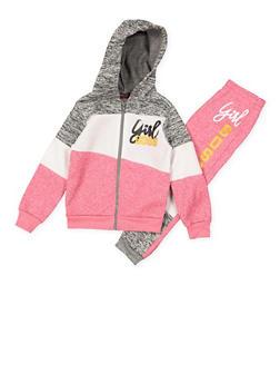 Girls 4-6x Girl Boss Color Block Sweatshirt and Sweatpants - 3622038340032
