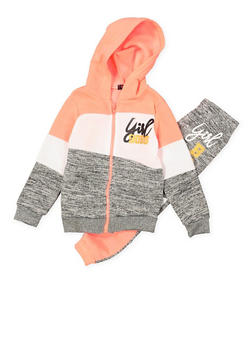 Girls 4-6x Girl Boss Color Block Sweatshirt and Sweatpants - 3622038340032