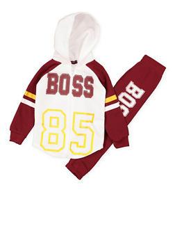 Girls 4-6x Boss Zip Up Sweatshirt and Sweatpants - 3622038340033