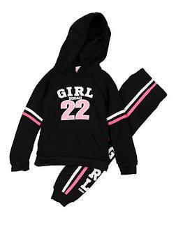 Girls 4-6x Girl Squad Graphic Sweatshirt and Joggers Set - 3622038340035