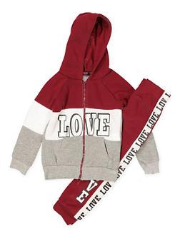 Girls 4-16 Love Graphic Sweatshirt and Sweatpants - 3622038340038