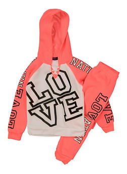 Girls 4-6x Love Lace Up Sweatshirt with Joggers - 3622038340039